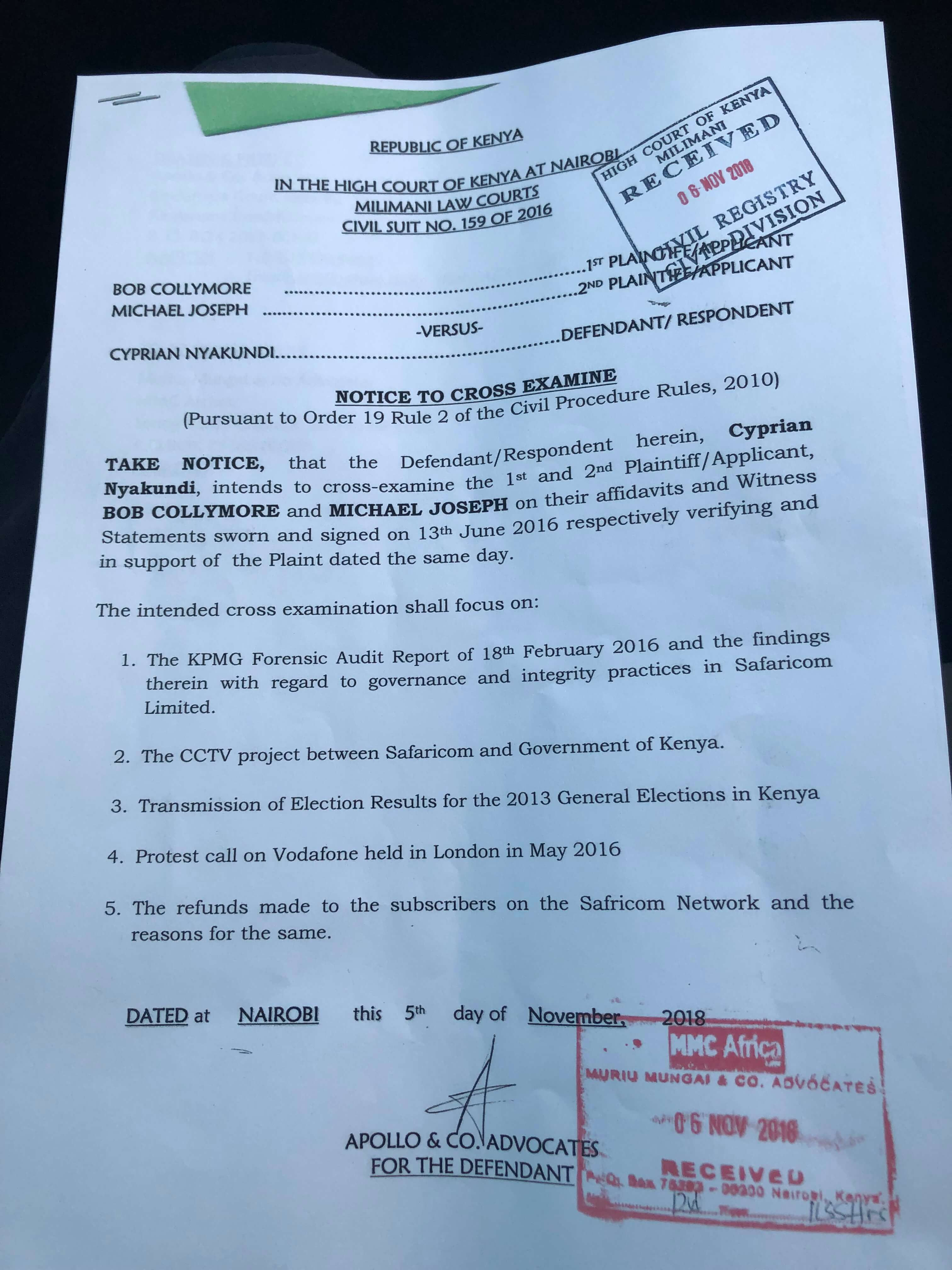 Bob Collymore And Michael Joseph Set To Be Cross Examined By