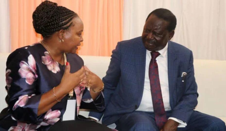 FILE PHOTO of impeached Kirinyaga Governor Anne Waiguru and ODM Party Leader Raila Odinga during a past encounter
