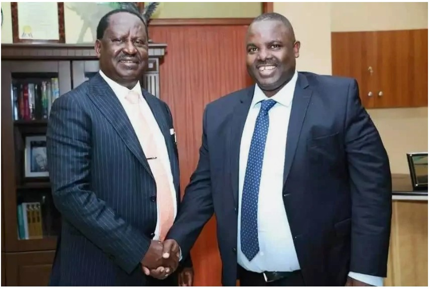 Makadara MP George Aladwa and former Prime Minister Raila Odinga at the ODM Leader's infamous Capitol Hill office