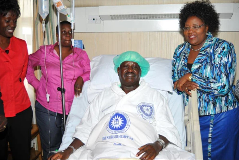 Prime Minister Raila Odinga with is wife Ida (left), daughter Rosemary (right) and his sister Ruth Adhiambo at Nairobi Hospital in 2010