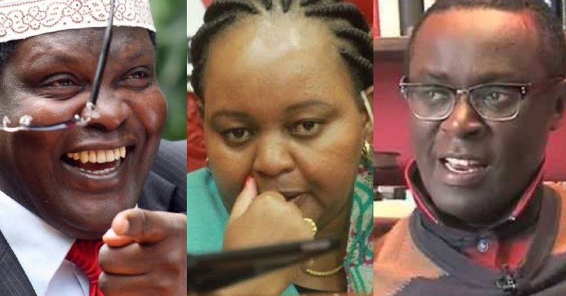 From Left to Right: Exiled Kenyan lawyer Miguna Miguna, Kirinyaga Governor Anne Waiguru and politicl analyst Mutahi Ngunyi
