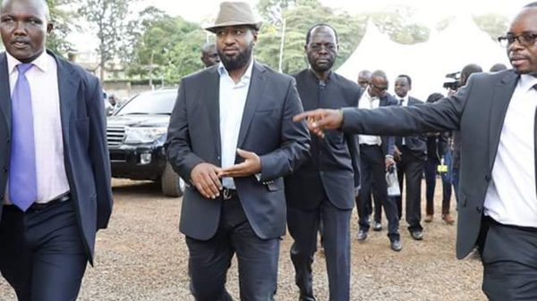 Mombasa Governor Ali Hassan Joho with his Kisumu counterpart Anyang' Nyong'o during Kenneth Matiba's sendoff in Murang'a