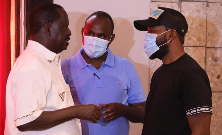 CAPTION: ODM leader Raila Odinga, his deputy, Ali Hassan Joho and National assembly Minority Chief Whip, Junet Mohamed during the post-Msambweni loss meeting in Diani