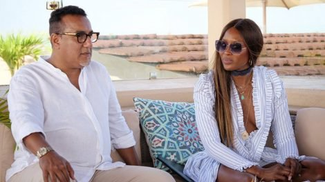 CAPTION: Tourism CS Najib Balala and British supermodel Naomi Campbel.
