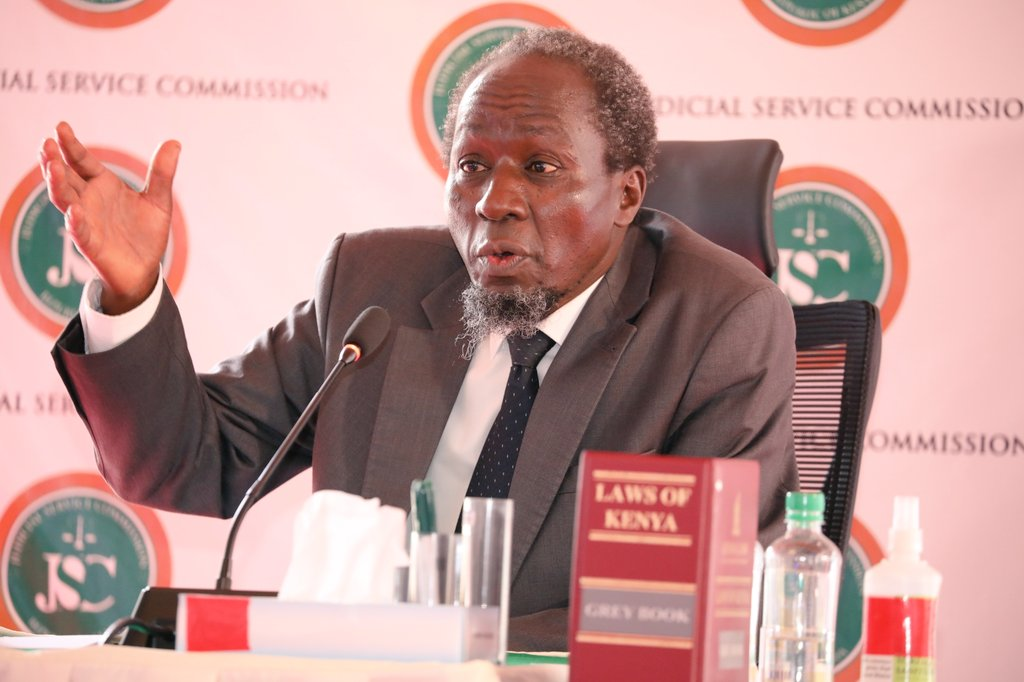 caption:Employment and Labour Relations Court judge Justice Marete when he appeared before the JSC panel